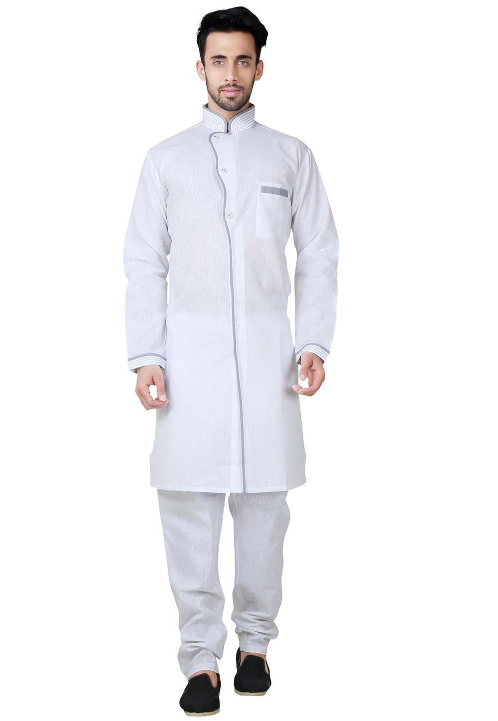 White Color Cotton, Linen Fabric Plain Pathani Kurta Pajama Online