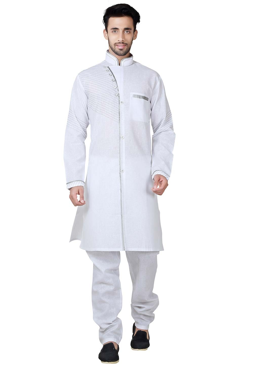 Exquisite White Color Cotton,Linen Fabric Pathani Kurta Pajama Online