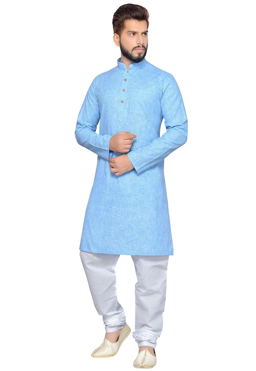 Blue Color Cotton Fabric Readymade Kurta Pyjama.