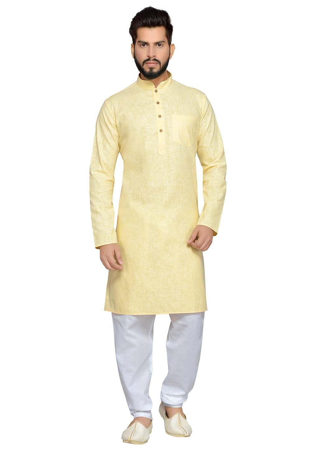 Yellow Color Cotton Readymade Kurta Pajama.