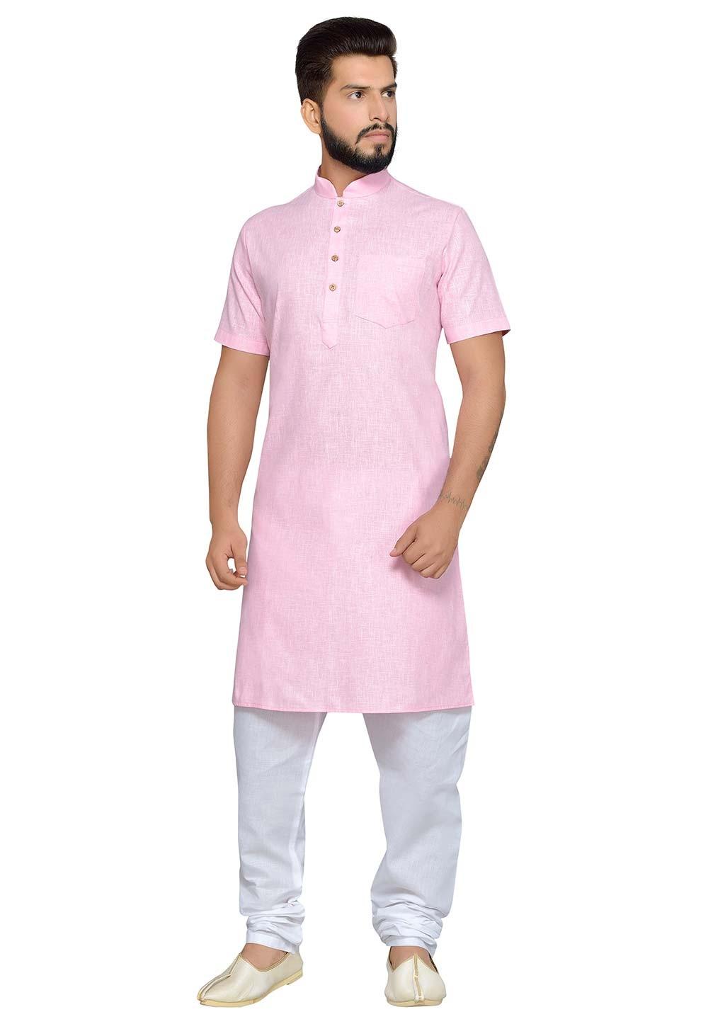 Pink Color Cotton Fabric Readymade Kurta Pyjama.