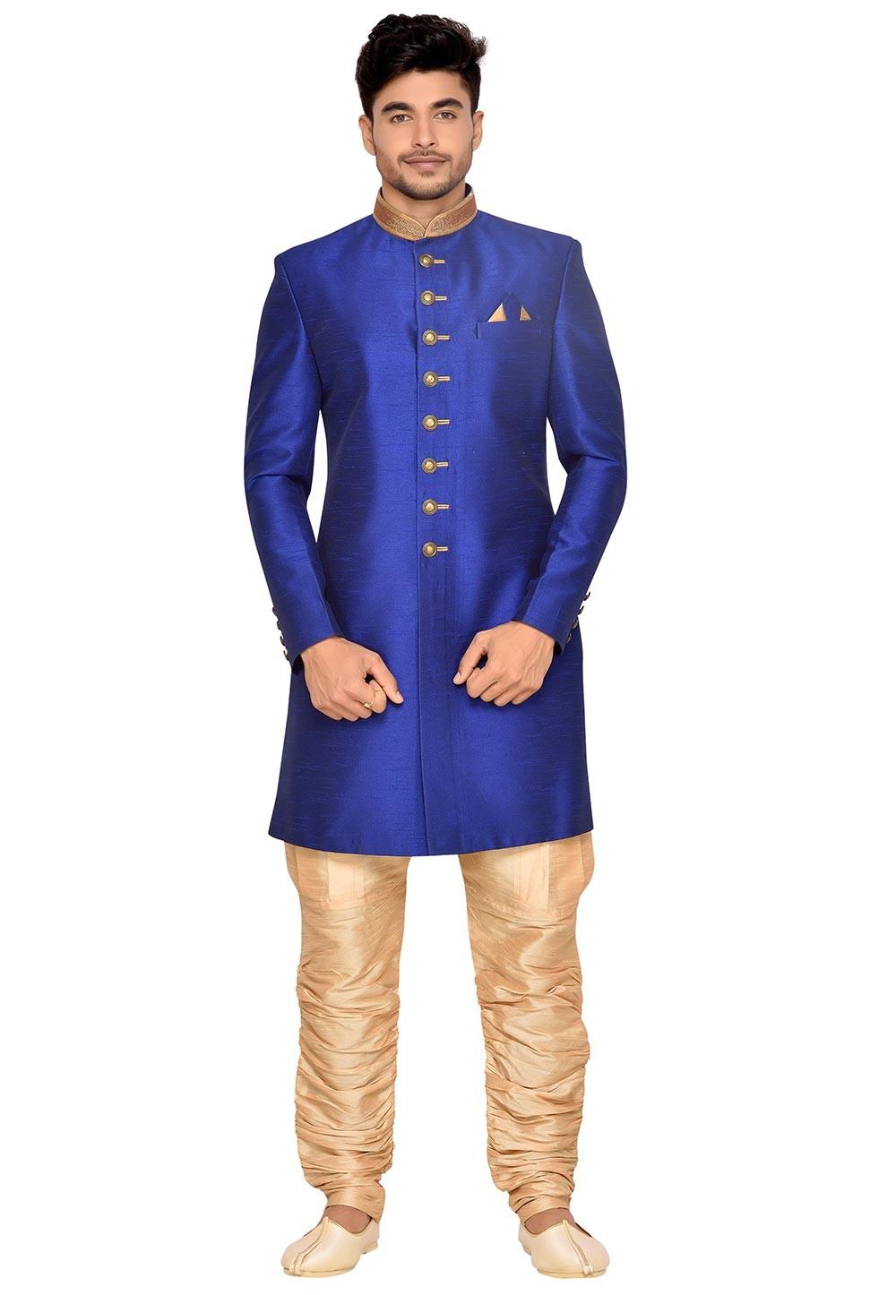 Royal Blue Men's Indowestern.