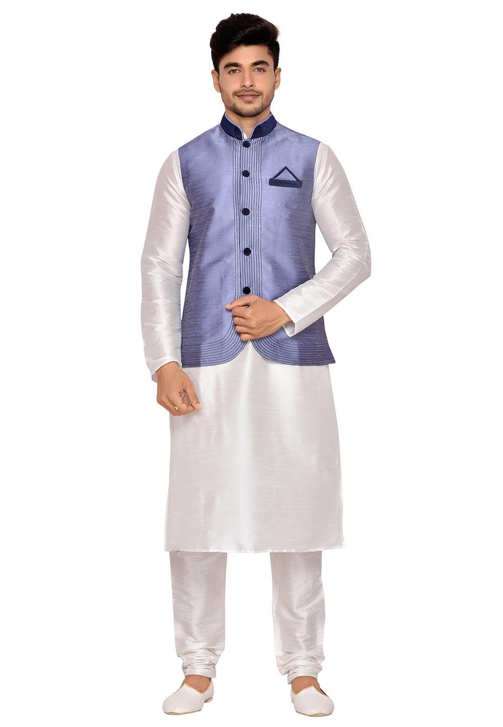 Cream,Grey Color Art Silk Latest Kurta Pajama with Nehru Jacket