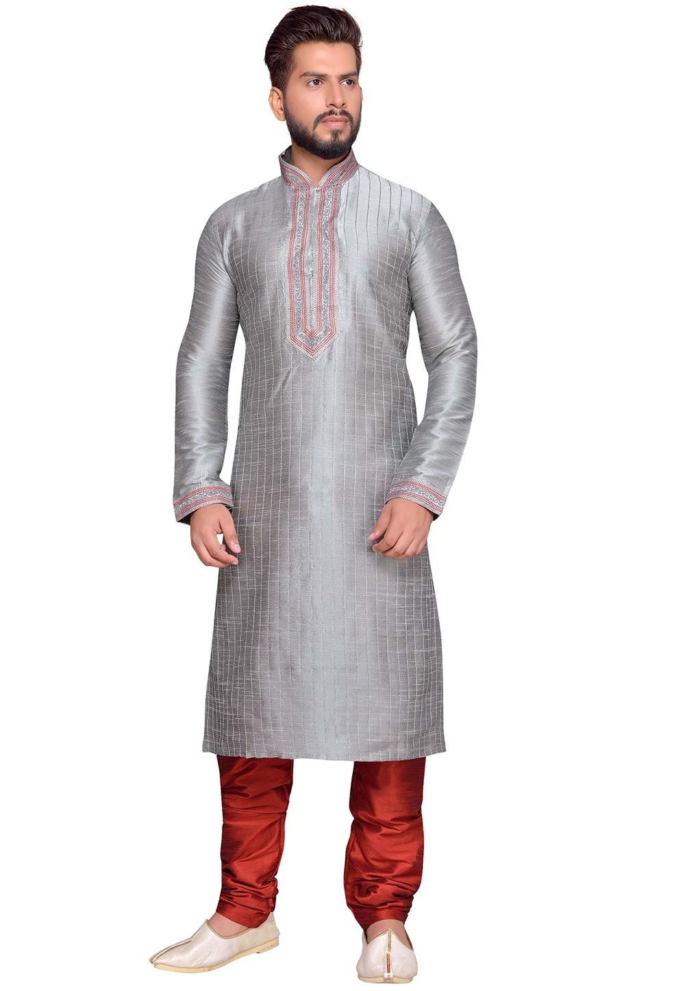 Grey Color Art Silk Readymade Kurta Pajama.