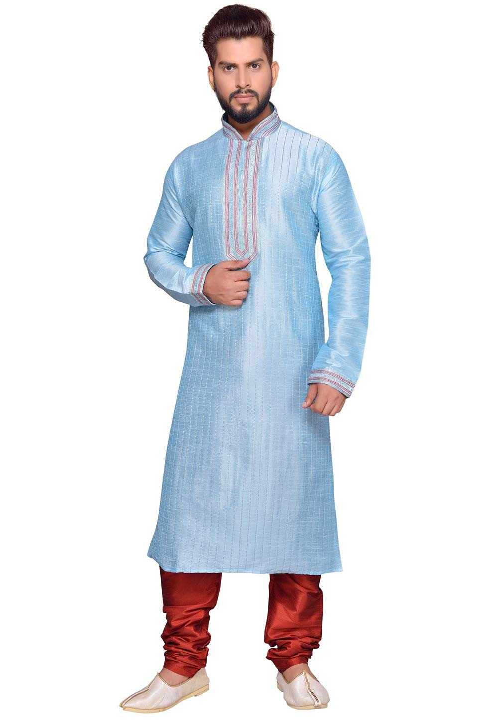 Turquoise Color Readymade Kurta Pajama.