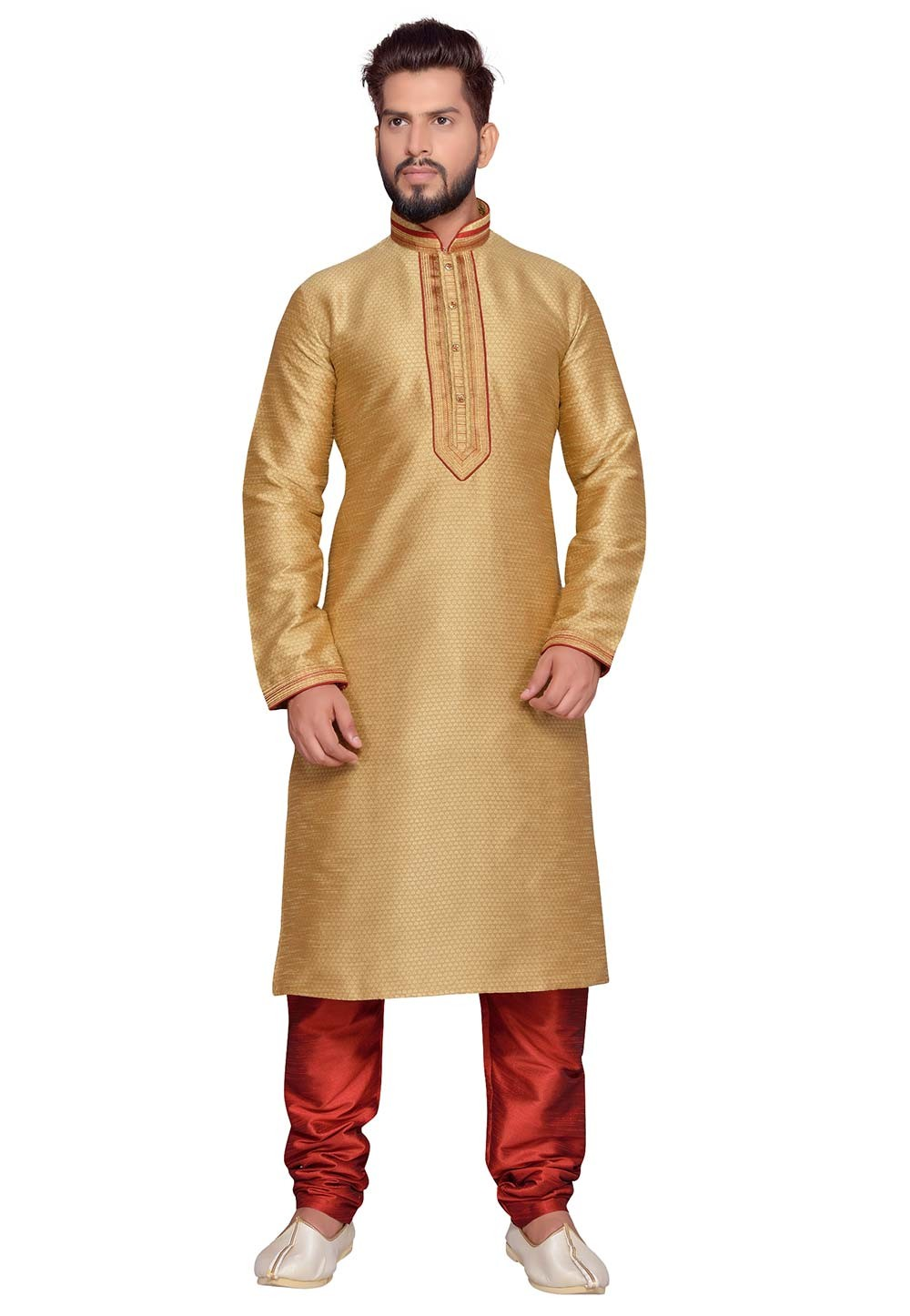 Golden Color Designer Kurta Pajama.