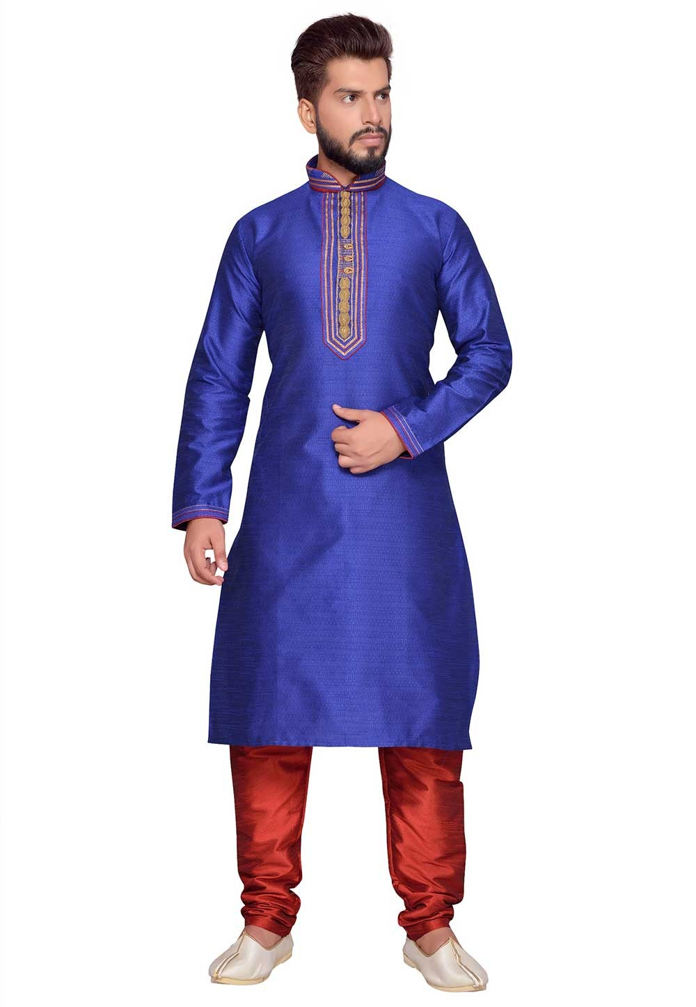 Blue Color Brocade Fabric readymade Kurta Pajama.
