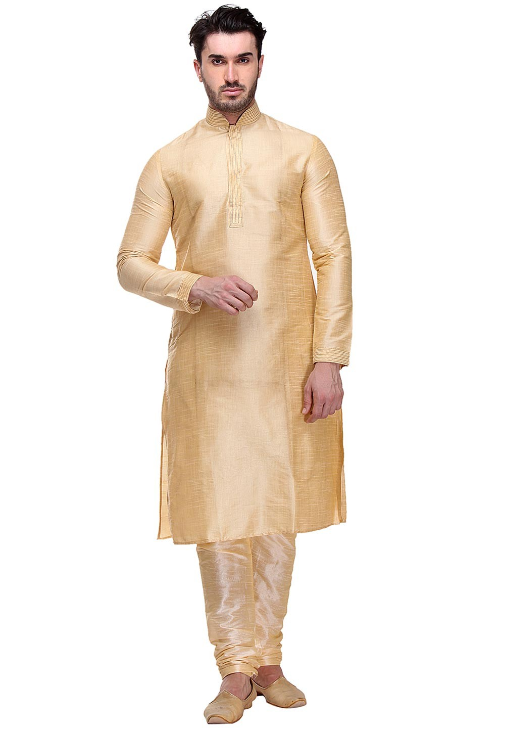 Golden Color Dupion Silk Kurta Pajama.