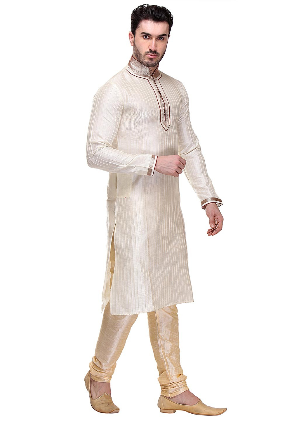 Cream Color Dupion Art Silk Kurta Pajama.