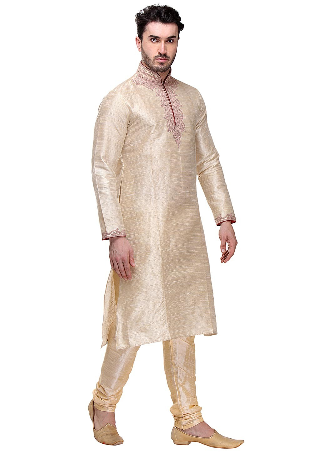 Beige Color Silk Kurta Pajama.