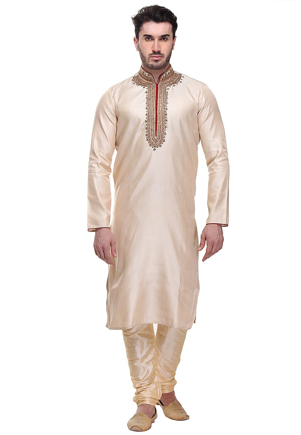 Golden Color Indian Designer Kurta Pajama.