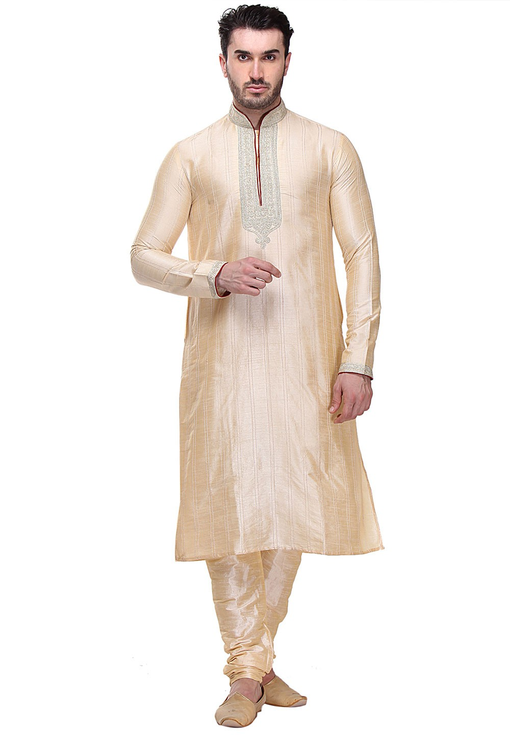 Golden Color Dupion Art Silk Readymade Kurta Pajama.