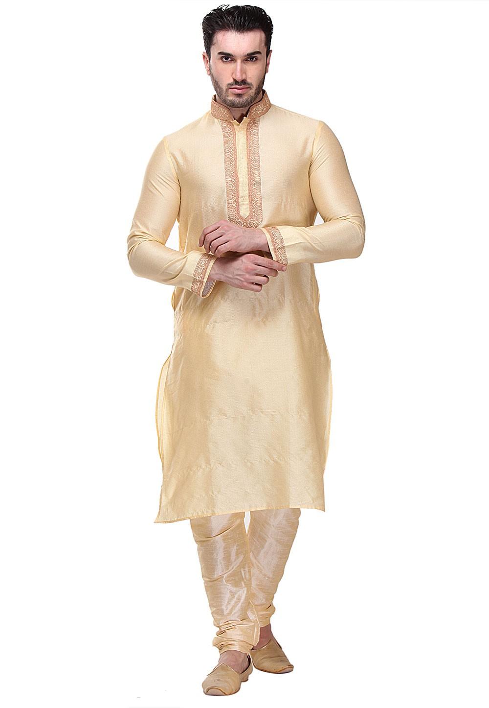 Golden Color Dupion Silk Readymade Kurta Pajama.