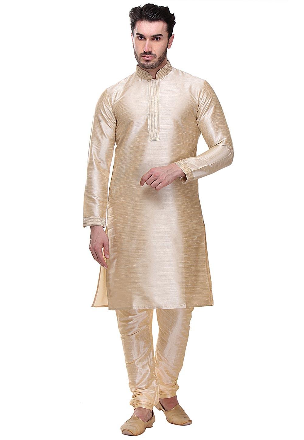 Beige Color Dupion Art Silk Kurta Pajama