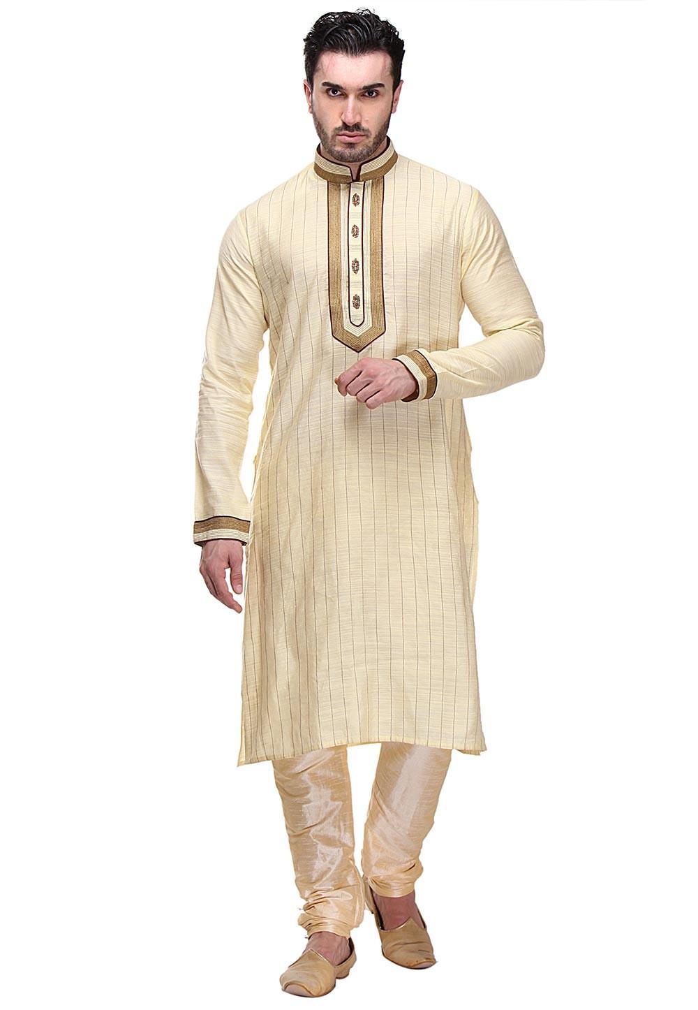 Exquisite Golden Color Readymade Kurta Pajama.