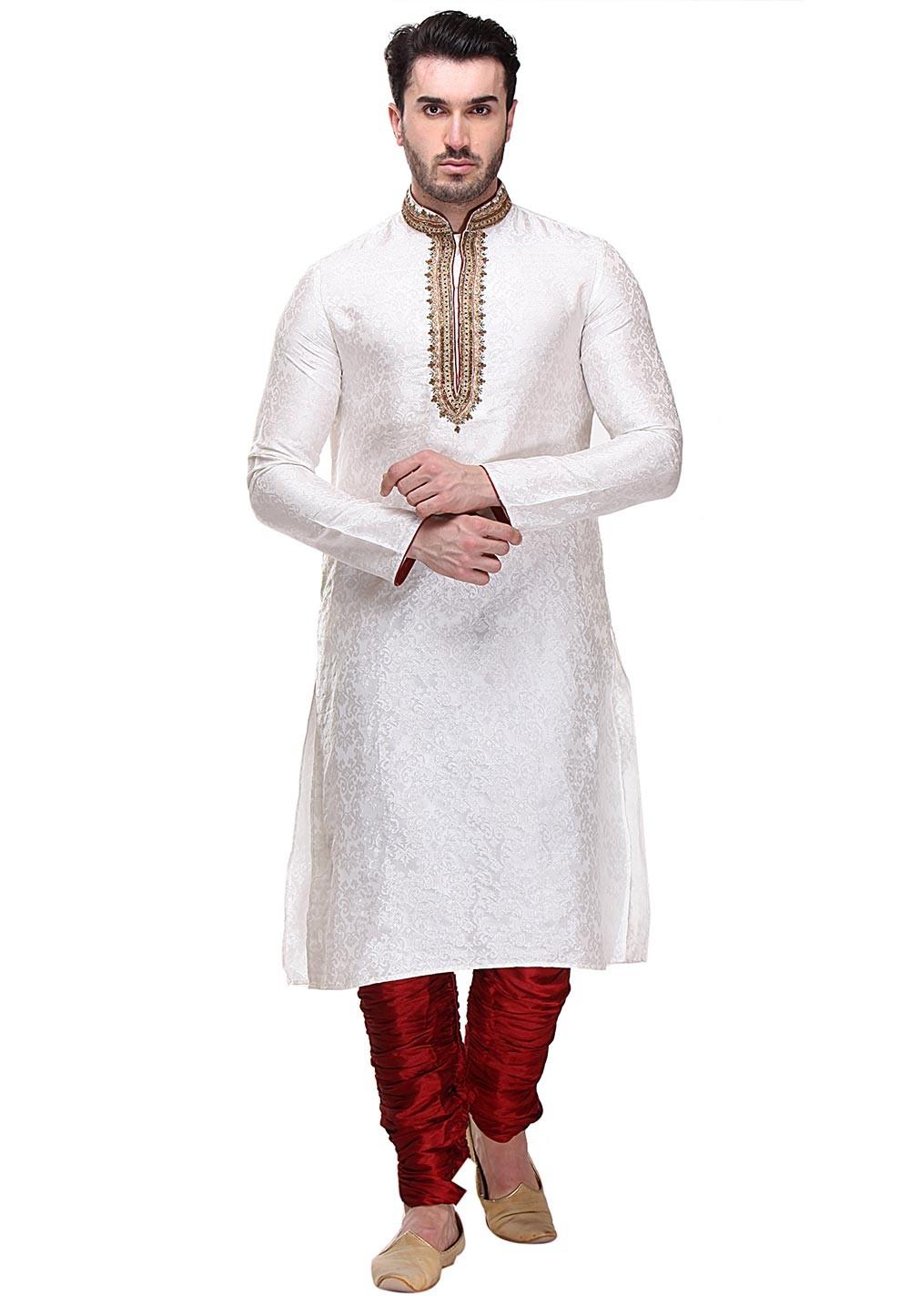 Exquisite Cream Color Brocade Fabric Readymade Kurta Pajama.