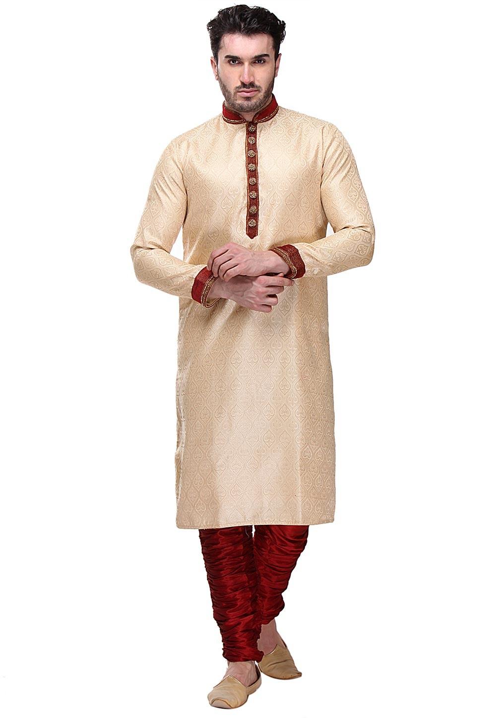 Golden Color Party Wear Kurta Pajama.