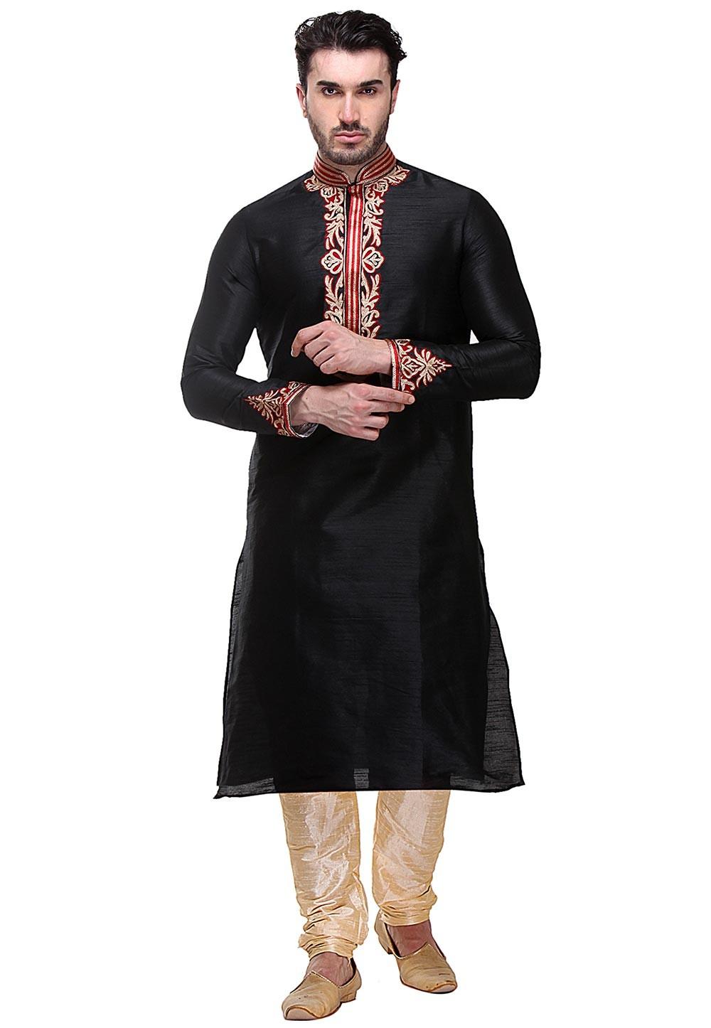 Black Color Silk Party Wear Kurta Pajama.