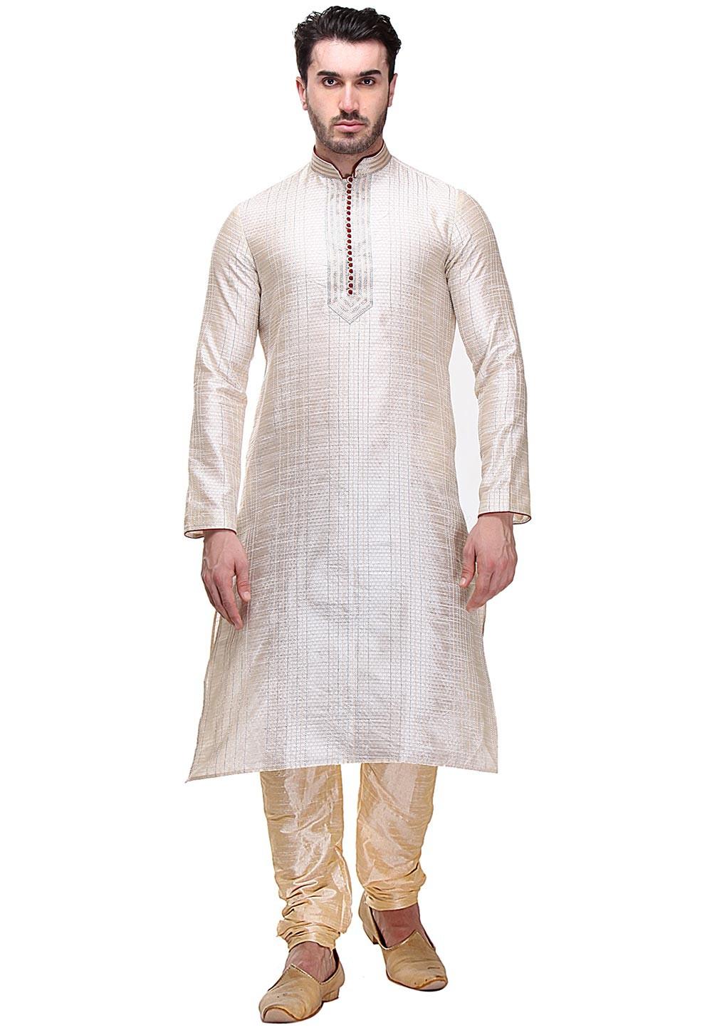 Cream Color Readymade Kurta Pajama.