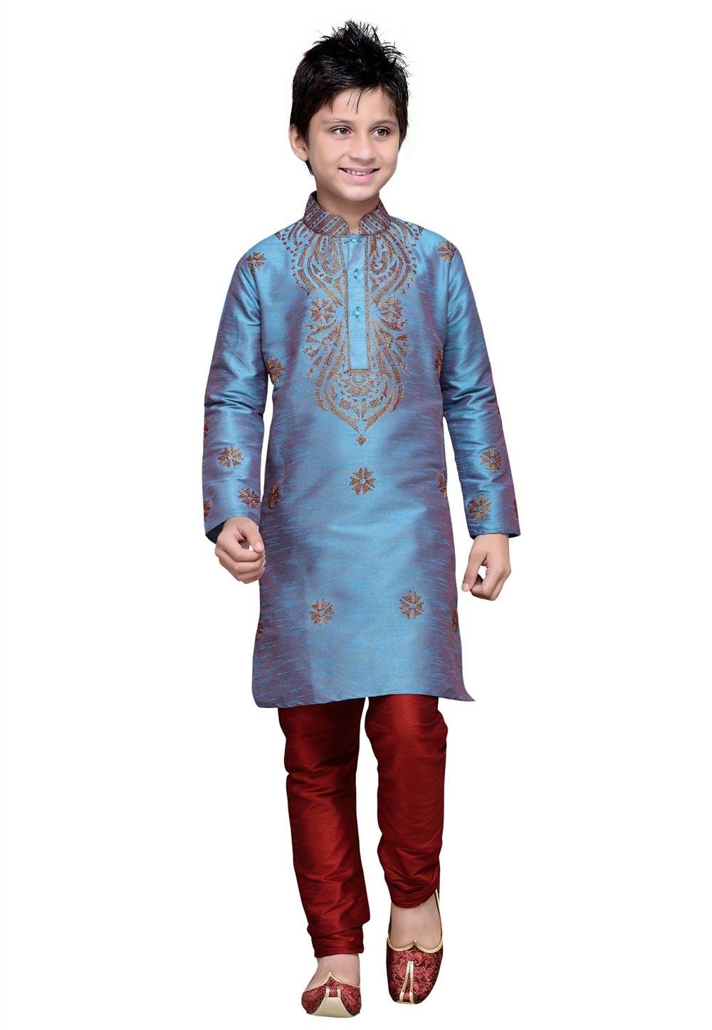 Blue Color Cotton Boy's Kurta Pajama.