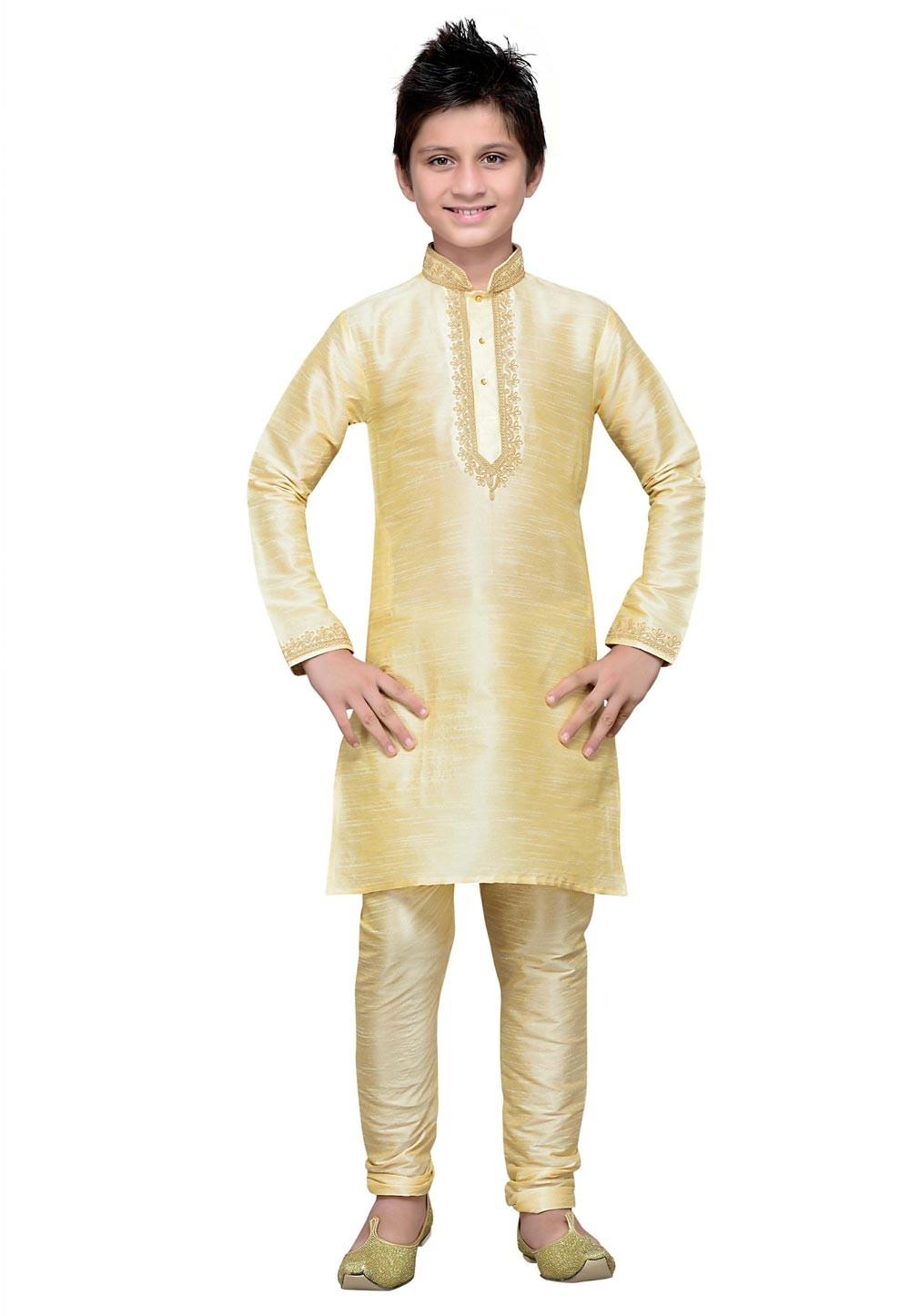 Cream Color Boy's Traditional Kurta Pajama.