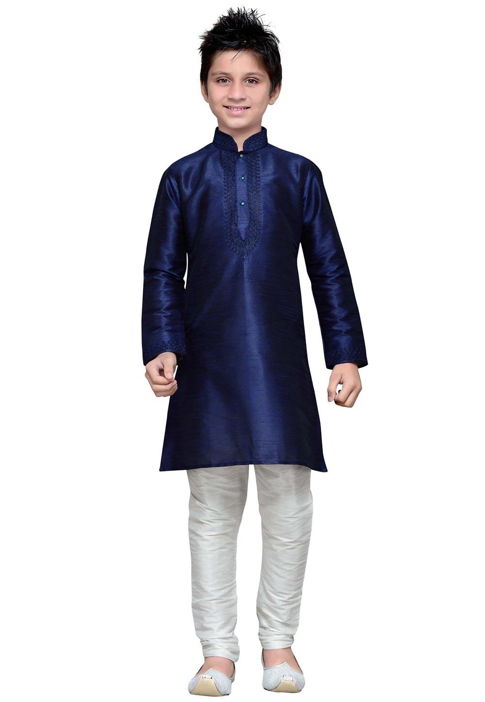 Blue Color Cotton Fabric Boy's Kurta Pajama.