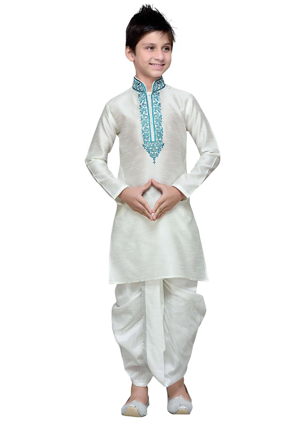 Off White Color Cotton Fabric Boy's Kurta Pajama.
