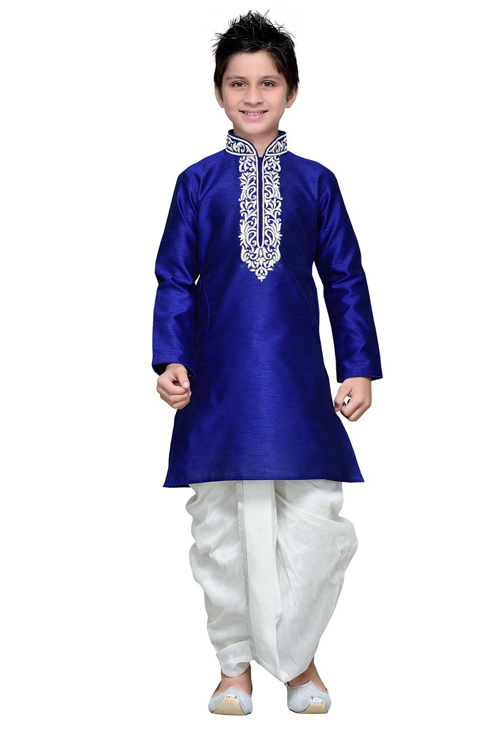 Blue Color Cotton Boy's Dhoti Kurta.