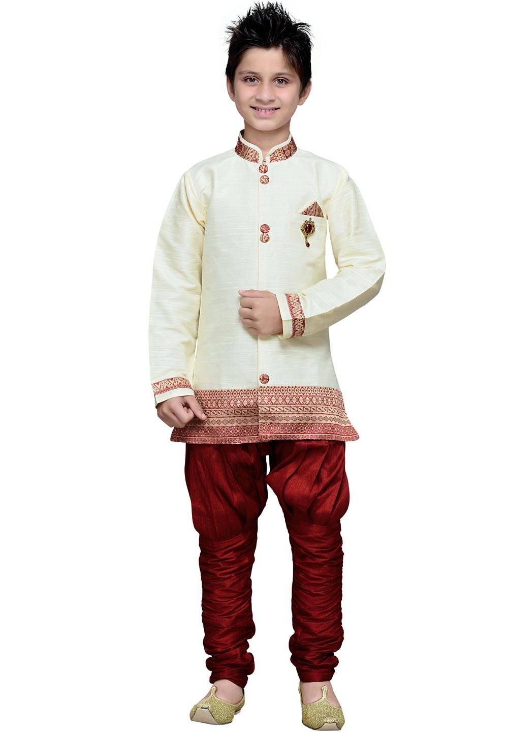 Off White Color Boy's Kurta Pajama.