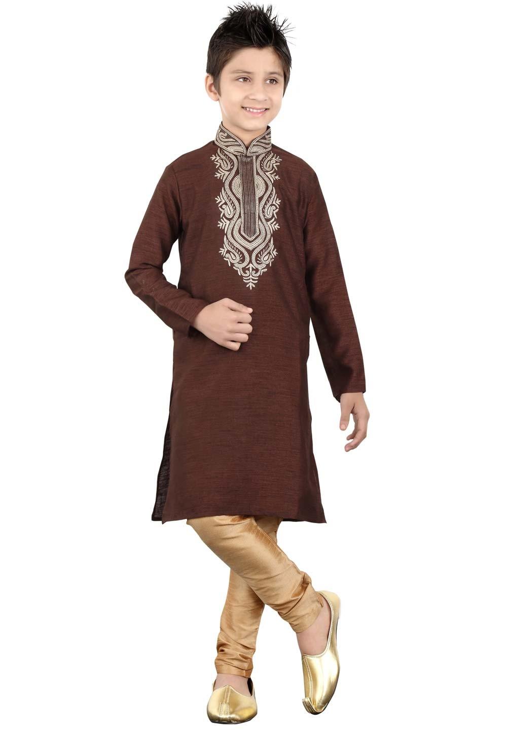 Brown Color Boy's Kurta Pajama.