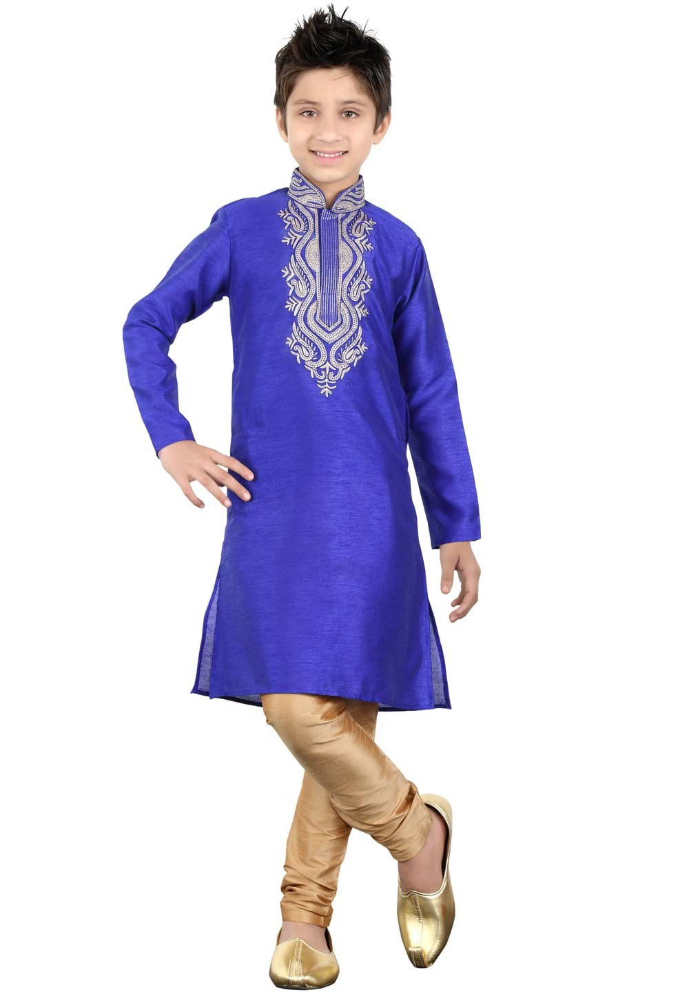 Blue Color Boy's Party Wear Kurta Pajama.