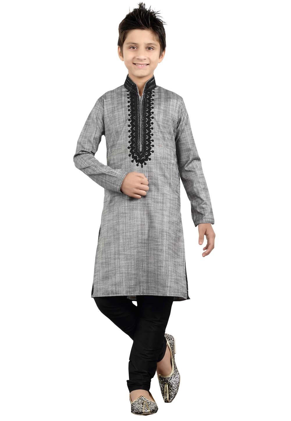 Grey Color Boy's Readymade Kurta Pajama.