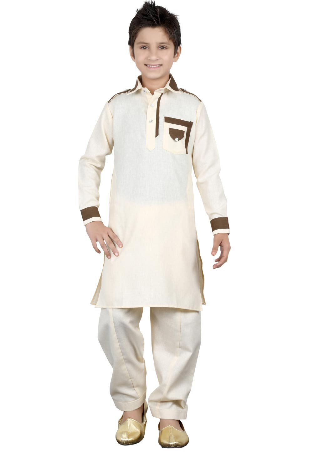 Cream Color Boy's Readymade Pathani Kurta Pajma.
