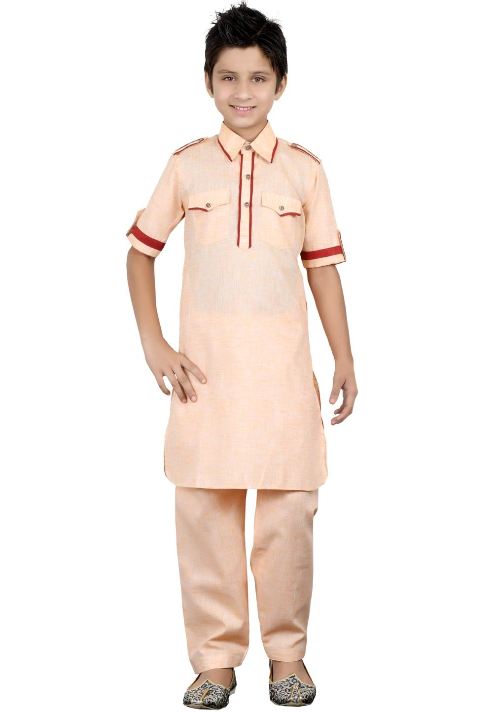 Peach Color Boy's Kurta Pajama.