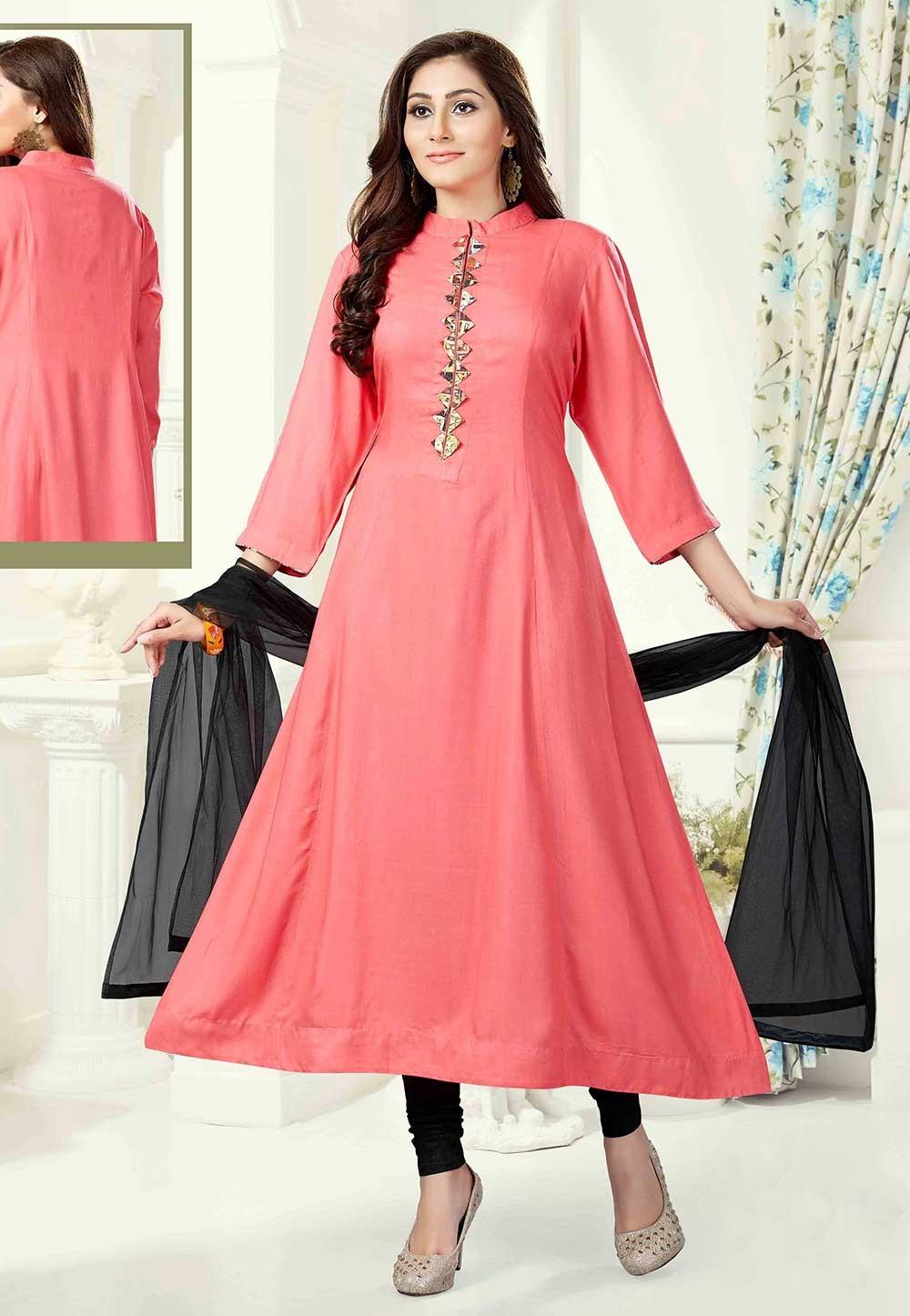 Peach Color Anarkali Salwar Kameez.