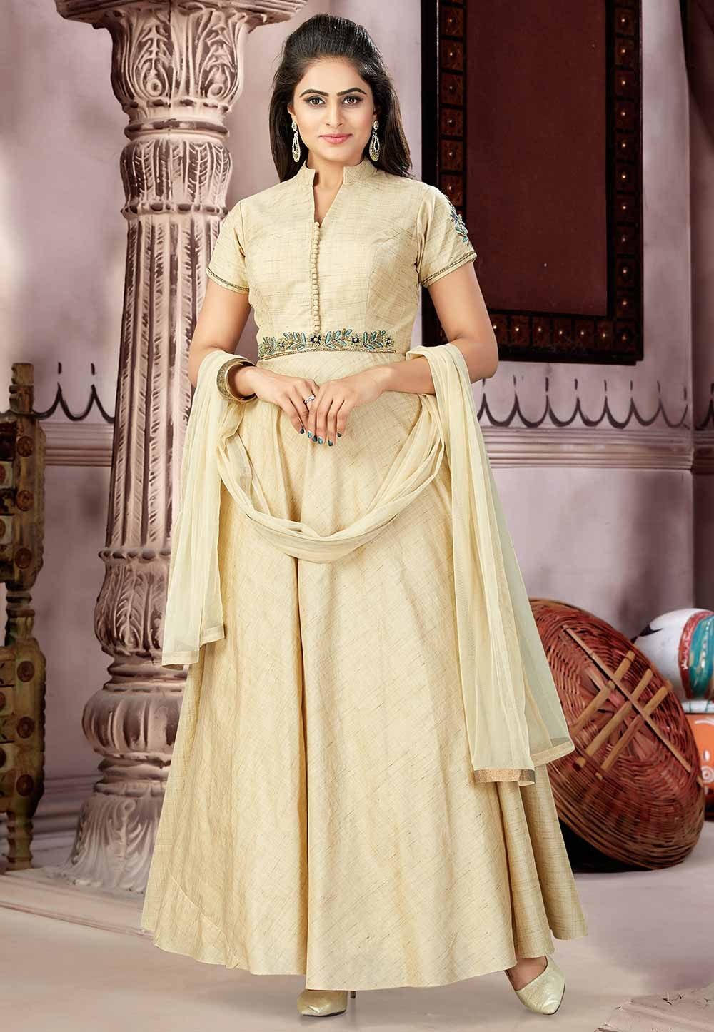 Beige Color Silk Readyamde Salwar Suit.