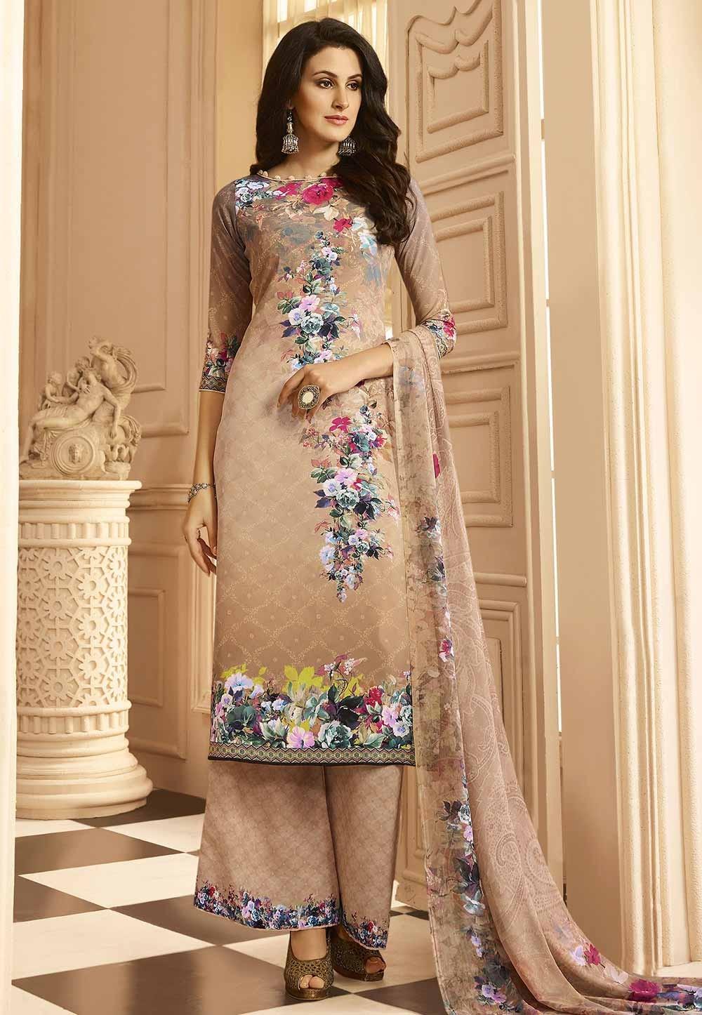 Beige Color Plazzo Style Salwar Kameez.