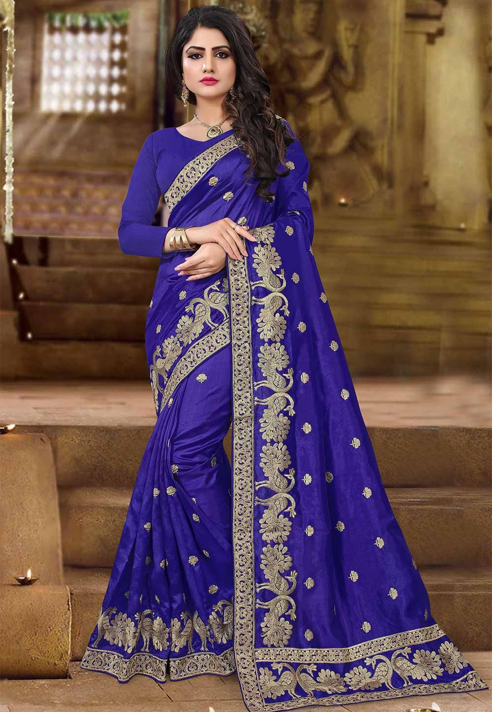 Blue Color Art Silk Saree.