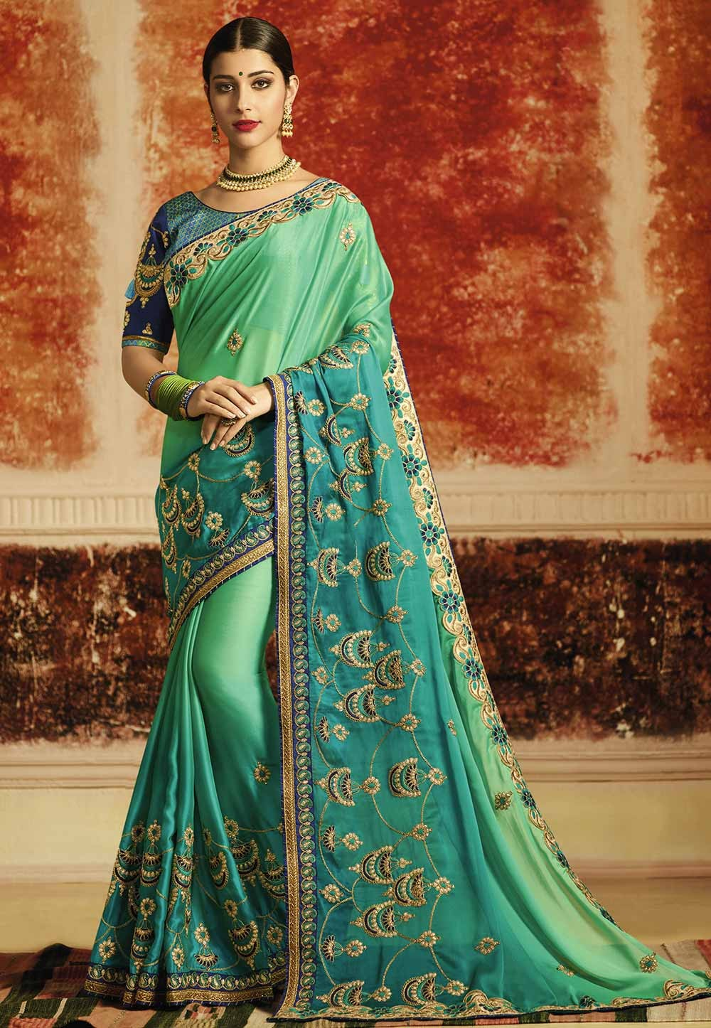 Green Color Embroidered Saree.