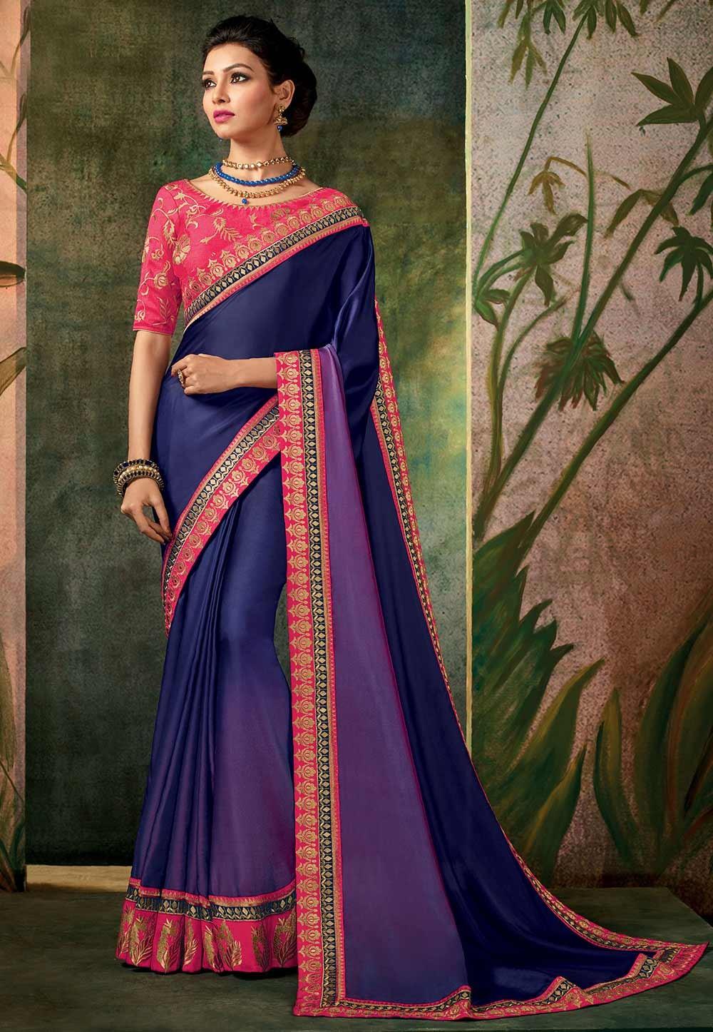 Blue Color Designer Saree.