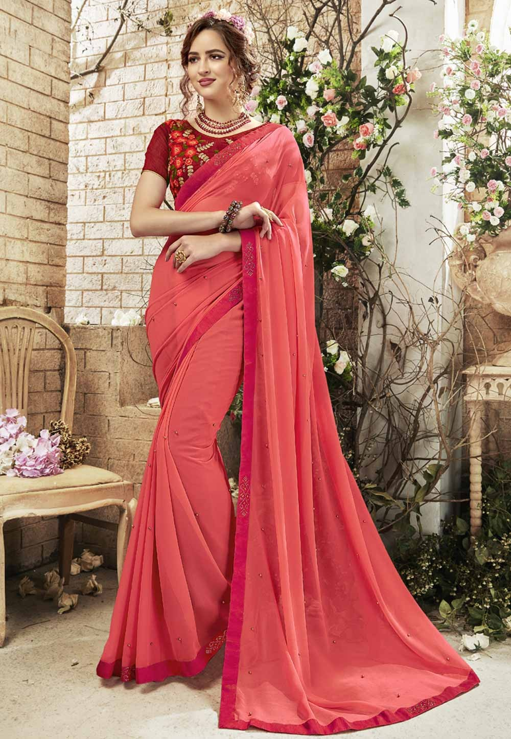 Red Color Georgette Sari.