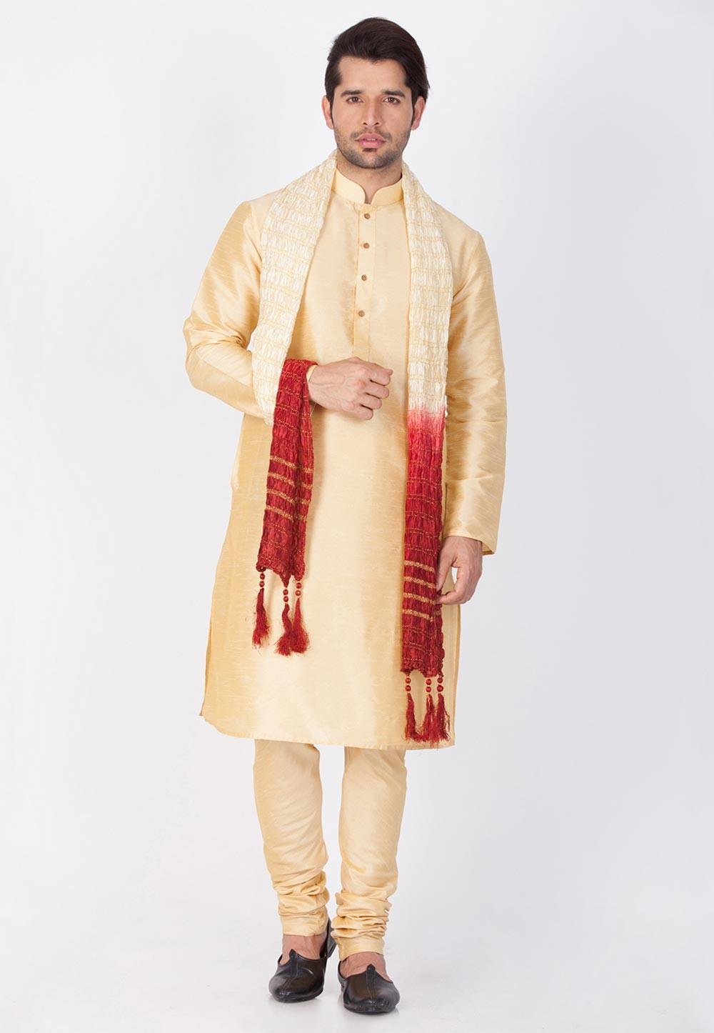 Exquisite Golden Color Kurta Pajama.