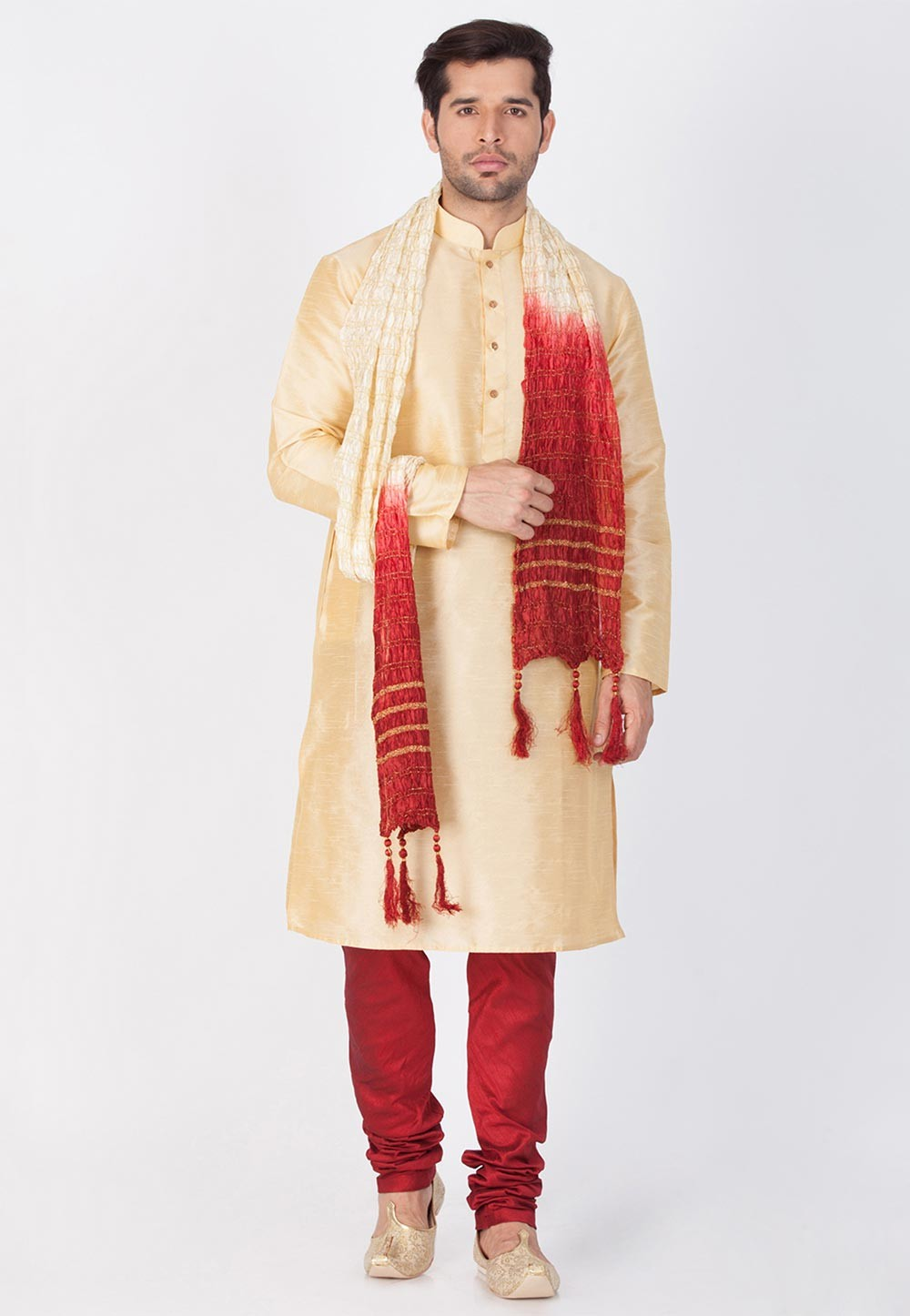 Golden Color Readymade Kurta Pajama.