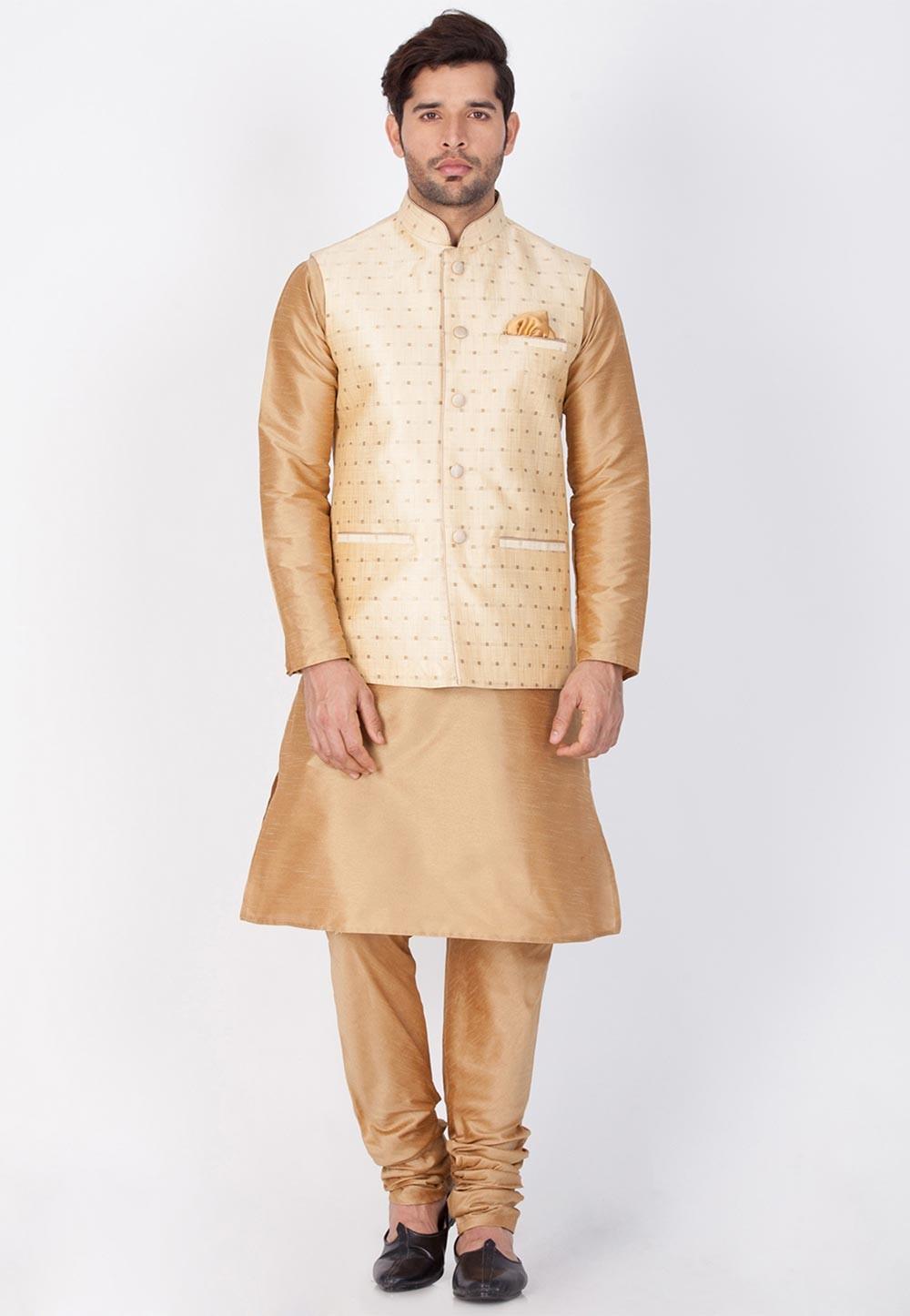 Golden,Cream Color Readymade Latest Kurta Pajama with Nehru Jacket