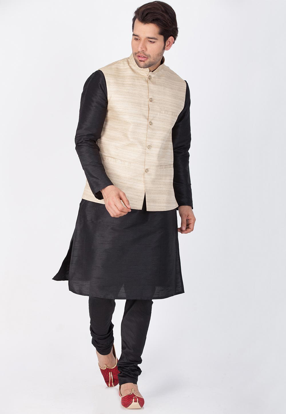 Black,Beige Color Readymade Latest Kurta Pajama with Nehru Jacket
