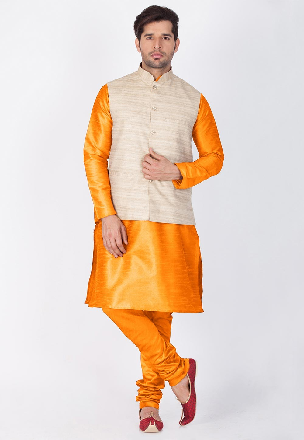 Orange,Beige Color Traditional Kurta Pajama with Jacket