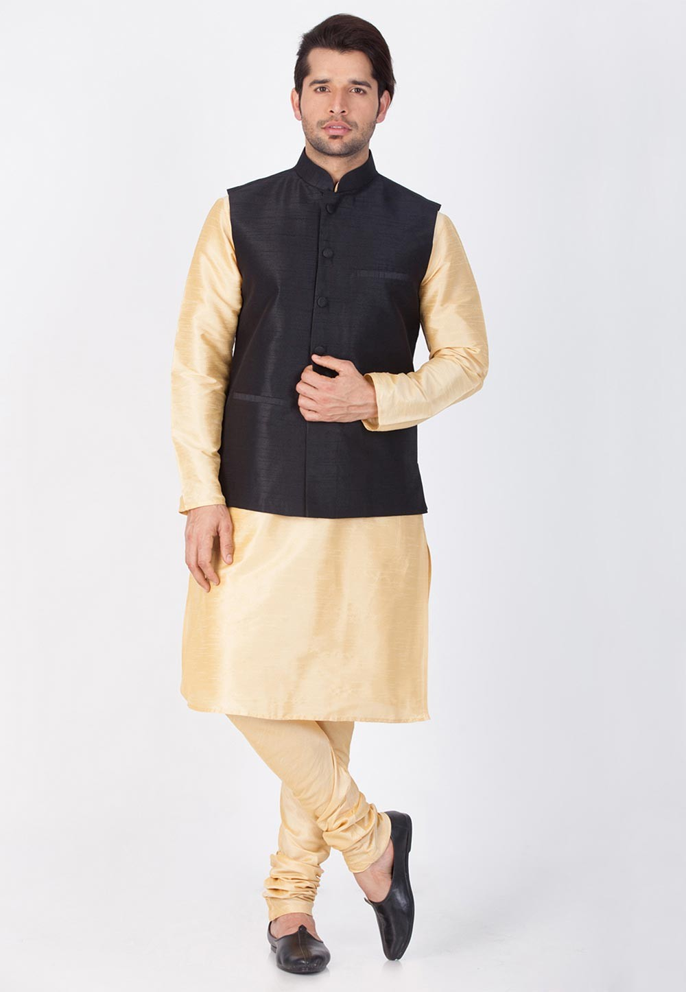 Golden,Black Color Designer Latest Kurta Pajama with Nehru Jacket