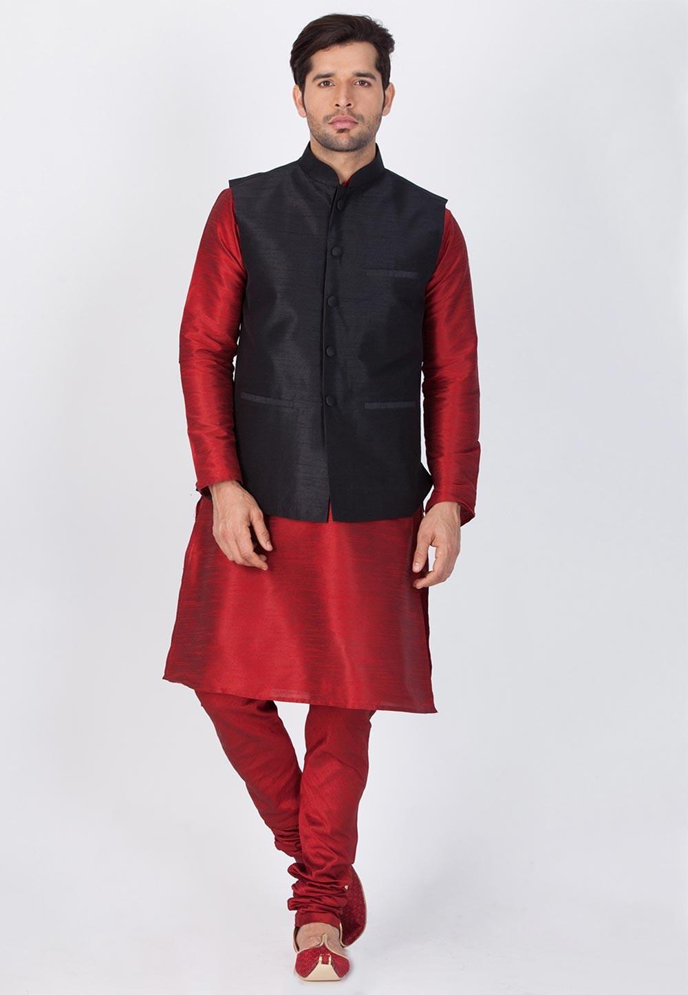 Maroon,Black Color Readymade Latest Kurta Pajama with Nehru Jacket
