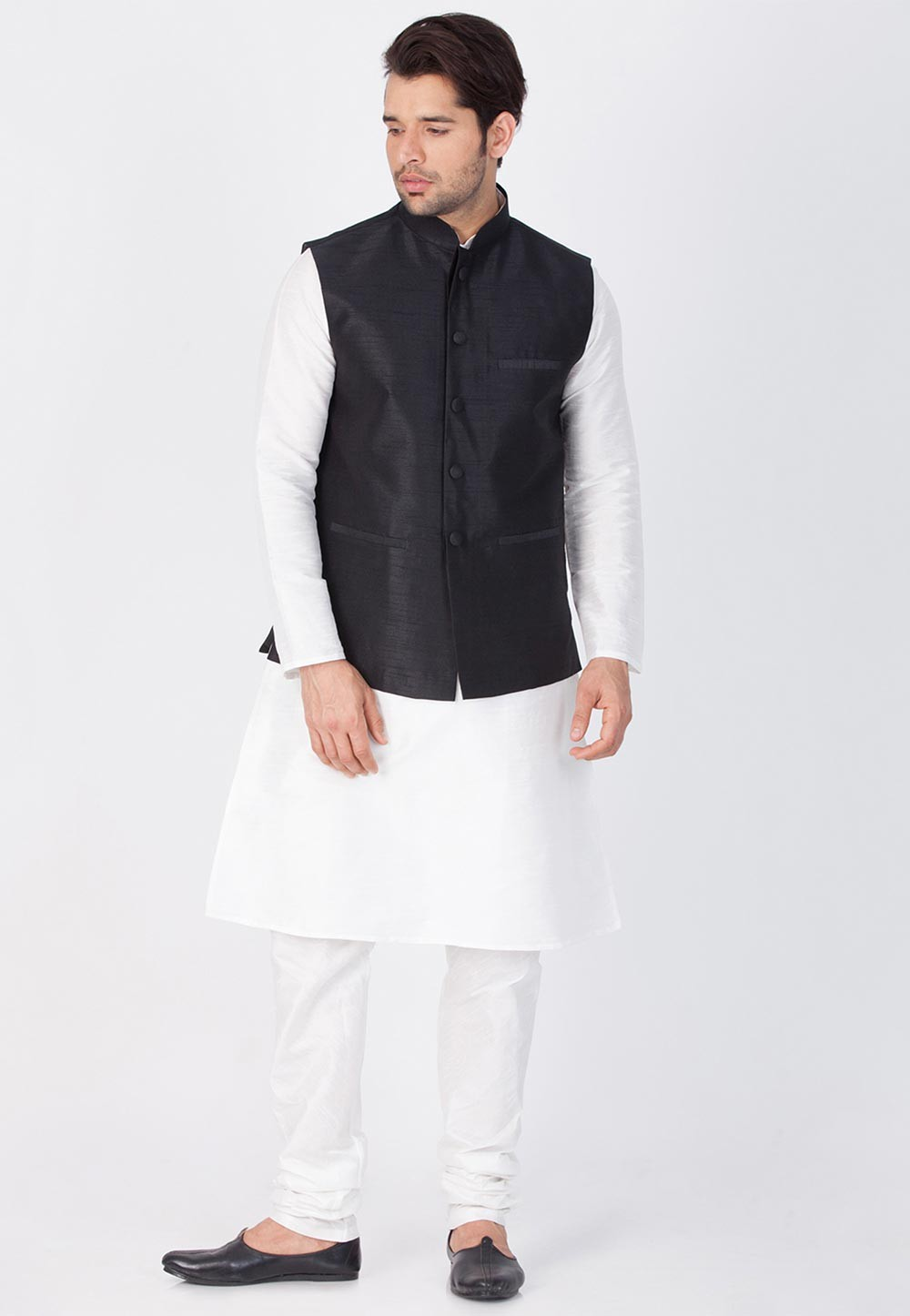 White,Black Color Kurta Pajama with Jacket