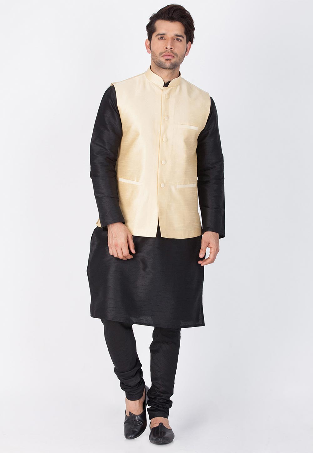 Black,Golden Color Party Wear Latest Kurta Pajama with Nehru Jacket